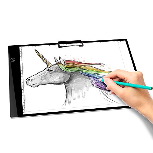 Upgrade Tracing Pad Kids 3-Level Brightness A4 LED Tracing Light Box Tracer Metric Ruler 0.5CM Thin Portable Eye-Protected Pad Board Digital Gifts for Artists Drawing Sketch Animation with Paper Clip by Unbrand