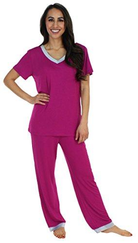 s Sleepwear Bamboo Jersey V-Neck Top and Pants Pajama Set with Satin Trim, Magenta (PHBJ1941-2056-XL) (Womens Pajamas Set Top Pants)