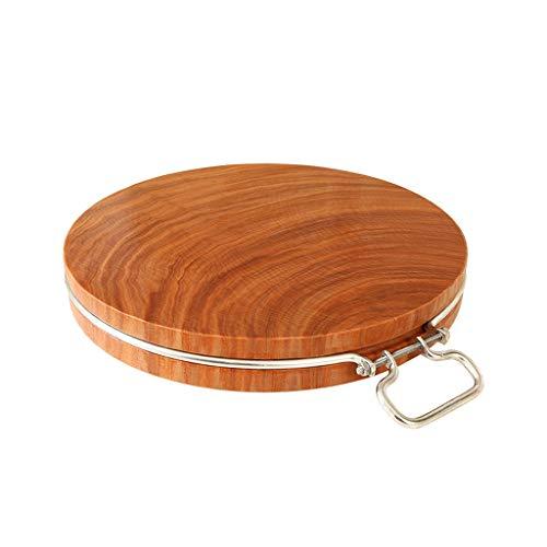 Chopping Board, Household Iron Wood Chopping Board Solid Wood Circular Cutting Board Kitchen Vegetable Cutting Board Thickening Chopping Board (Size : A) - Circular Chopping Board