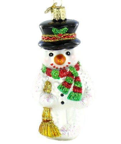Old World Christmas Snowman with Broom Glass Ornament by Old World Christmas