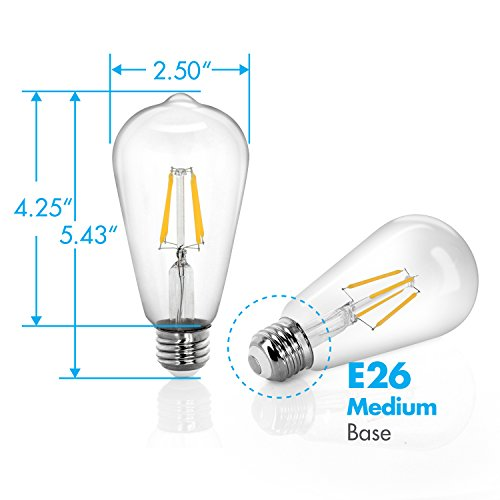 Tenergy Dimmable Edison Bulbs 4W LED Filament Bulbs (40 Watt Equivalent), Soft White (2700K), ST64 Bulbs, E26 Medium Standard Base Decorative Light Bulbs for Ceiling Light Fixtures (Pack of 6) by Tenergy (Image #8)