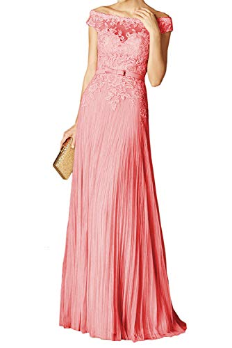 PearlBridal Women's Lace Off The Shoulder Prom Dresses Appliques Pleats Long Evening Party Gown Coral Size 6