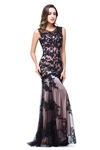 Damen Applique Meerjungfrau Babyonline® Abendkleid Schwarz Ballkleid Sommer Lang Kleider 1Zanqw6
