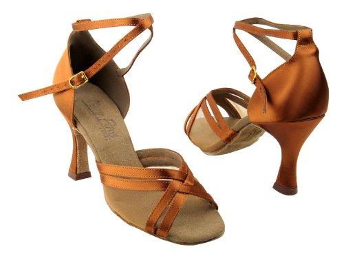 Dames Femmes Chaussures De Danse De Salon De Très Fine C5017 Série 3 Talon Satin Tan Foncé Et Chair Mesh