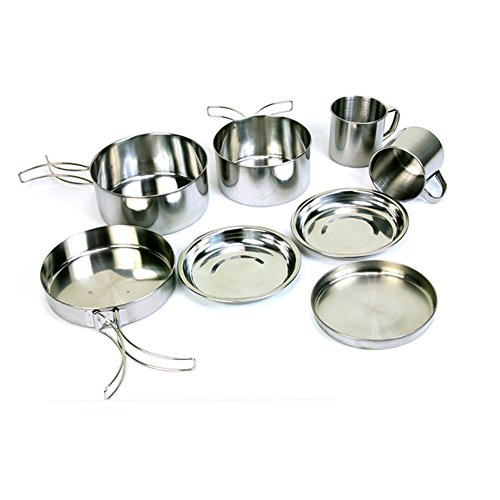 Ragdoll50 Outdoor Camping Cookware, Stainless Steel Hiking Backpacking Picnic Portable Mini Cooking Set, 8 Pcs, For 5-6 Person by Ragdoll50