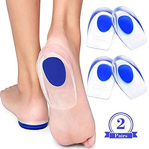- Gel Heel Cups - Silicone Shoe Inserts for Plantar Fasciitis, Sore Heel Pain, Bone Spurs & Bruised Feet - Best Insole Gel Pad & Shock Absorbing Support