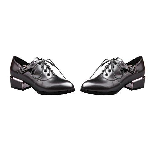 Enmayer Femmes Pu Bloc Mi-talons Lacets Jusquà Mocassins Appartements Bureau Lady Court Chaussures Oxford Chaussures Bottines Argent # 229