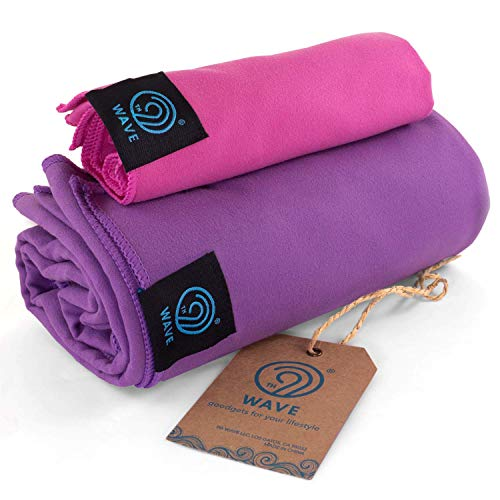 9th WAVE YuccaTowl Microfiber Premium Towels Set of 2 (XL, M) - for Travel, Gym, Swimming, Camping, Beach or Bath. Best Gift for Travelers, Women or Men. (XL, M, Blue, Green)