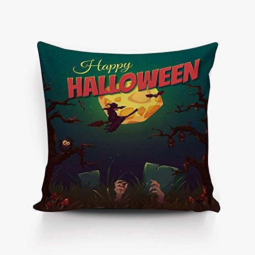 YOLIYANA Halloween Soft Throw Pillow Cover,Happy Halloween Poster Design Witch on Broom Mushroom Dead Resurgence Vintage Decorative for Home Office,24