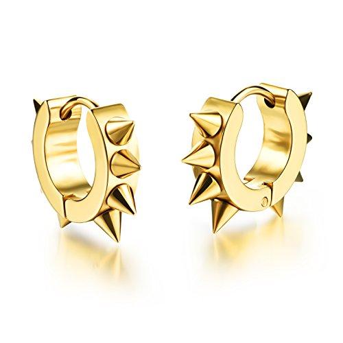 - Mintik Men Spike Hoop Ear Studs Stainless Steel Punk Rock Rivets Awl Piercing Taper Huggie Hinged Earrings