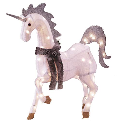 - Light-Up Unicorn, Magical Indoor/Outdoor Holiday Lawn Decoration, Chenille, 42 Inches Tall