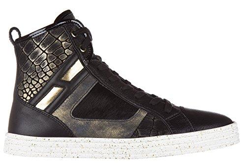 Hogan Rebel Damenschuhe Damen Leder Schuhe High Sneakers r141 patchwork  Schwarz 6b42552da2