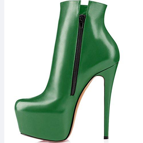 elashe Women High Heel Boots | 15cm Round Toe Stilettos Ankle Boots | 5cm Platform Zip Sexy Booties Green YMyeiR