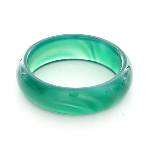Stone Agate Ring (6mm Green Agate Gemstone Plain Band Ring (9))