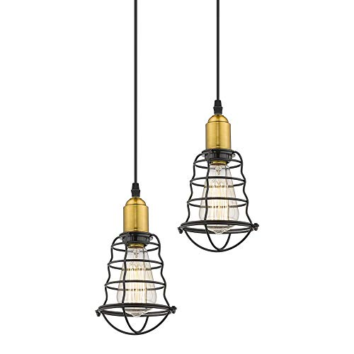 Jazava Vintage Mini Pendant Lights, 2 Pack Hanging Lights for Farmhouse, Metal Wire Cage Shade, Antique Brass and Black Finish ()