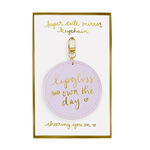- Eccolo Dayna Lee Small Round Mirror Keychain, Purple, Own the Day