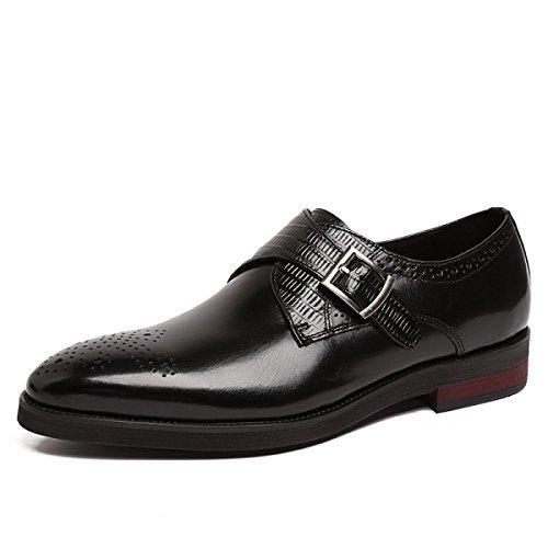 GRRONG Zapatos De Cuero De Los Hombres Banquete Señaló Negocio Cómodo Black
