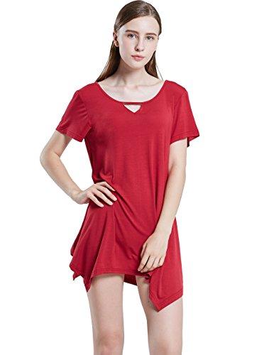 Women Top Sleepshirts T Tunic Shirt Nightdress Fit Swing Wine Plus Sleepwear Nightgowns Loose Size ZITY ZFdxCTd