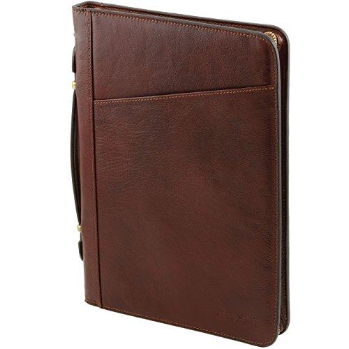 Tuscany Leather Claudio - Portadocumentos elegante en piel con asa Marrón oscuro Portadocumentos en piel Marrón
