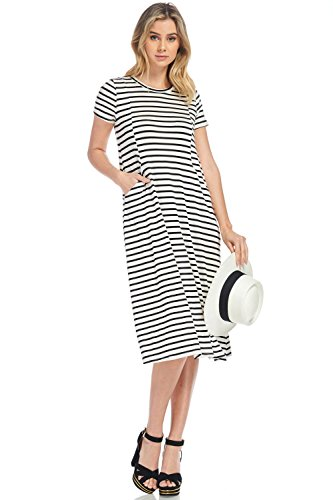 Neesees dresses Midi Dress (Ivory w/Black Stripe, (Black And White Stripe Dress)