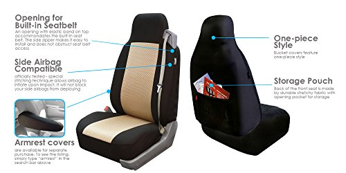 FH Group FB302BEIGE102 Beige Classic Cloth Built-in Seatbelt Compatible High Back Seat Cover, Set of 2 (Tahoe Driver Airbag)