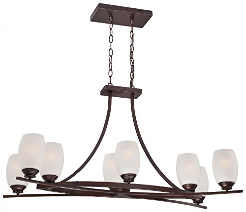 Minka Lavery 4958-267B 8 Light Island Light in Dark Brushed Bronze Finish w/Etched White Seeded Glass