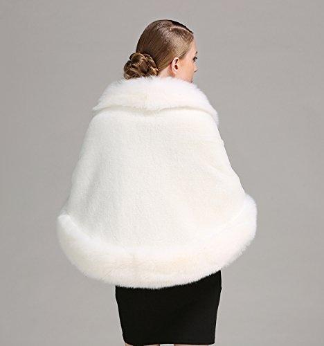 BEAUTELICATE Women's Faux Fur Shawl Wrap Stoles for Bridal Wedding Dresses-S64 Ivory