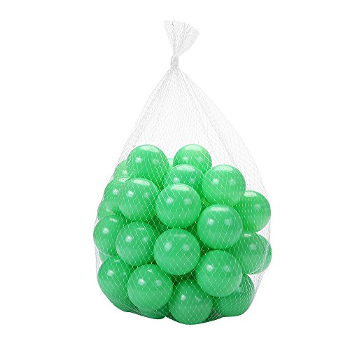 Pack of 100 PlayMaty Green Ball Pit Plastic Ball Kids Swim Pit Fun Toy Green 100 pieces Balls with Storage Bag for Baby Playhouse Pool Birthday Party Decoration (Fun Safety Balls)