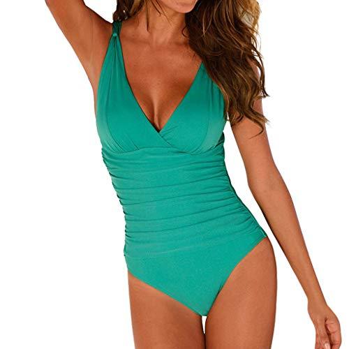 Swimsuits for Women One Piece Plus Size Hosamtel Pleats Tummy Control Deep V Neck Push Up Bikini Swimwear Bathing Suit
