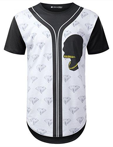 URBANCREWS Mens Hipster Hip Hop Diamond Skull Longline T-Shirt Black, L