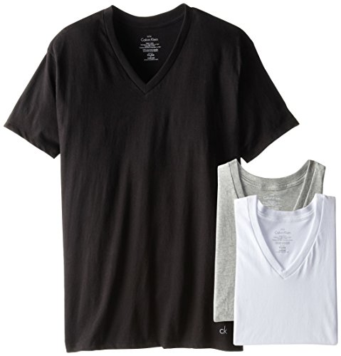 Underwear Short Sleeve (Calvin Klein Men's, Undershirts, 3 Pack Cotton Short Sleeve V-Neck, Multi,)