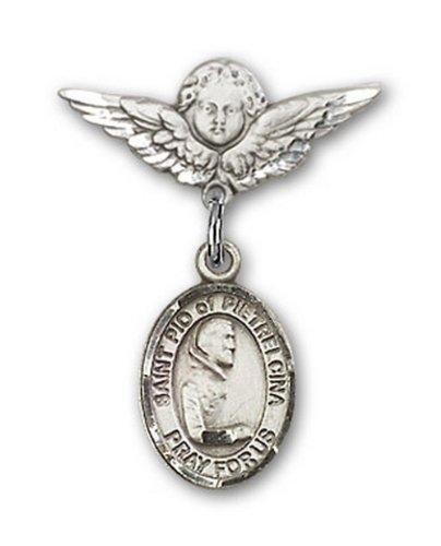 Icecarats Créatrice De Bijoux En Argent Sterling St. Pio De Pietrelcina Charme Ange Pin Badge 7/8 X 3/4