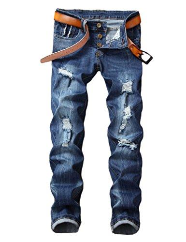 (Enrica Men's Skinny Ripped Distressed Destroyed Straight Fit Denim Jeans (36, Light blue 283))