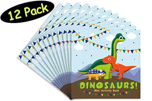 (Dinosaur Party Favors Mini Activity Book Puzzle Dinosaur Favors // Dinosaur Party Supplies // MADE IN THE USA // Loot Bags Goodie Treats Birthday Classroom Prizes, 12 pack, 4.75