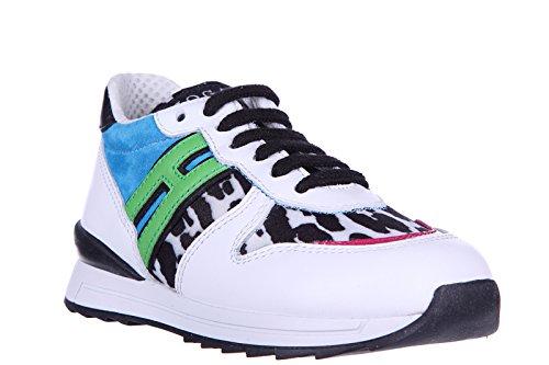 Hogan Rebel Zapatos Zapatillas de Deporte Niña EN Piel Nuevo r 261 Animalier Zip