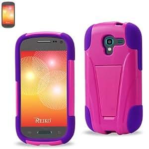Reiko Silicon Case+Protector Cover Samsung Galaxy Exhibit T599 - Retail Packaging - Purple Black