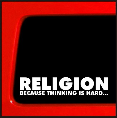 Bumper Darwin Sticker - Religion Because Thinking Is Hard vinyl decal - Atheist funny sticker darwin evolution religion