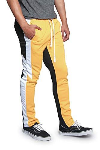 (Men's Thunderbolt Shape Side Stripe Triple Tone Drawstring Trackpants with Inner Ankle Zipper TR586 - Gold - X-Large -)