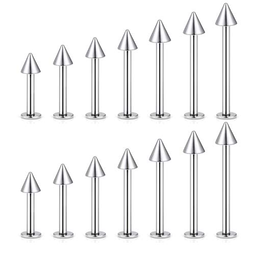 (vcmart 16G 12pcs Stainless Steel Cheek Dimple Tongue Rings Barbell Labret Monroe Lip Rings Helix Tragus Cartilage Ear Nose Piercings Studs 6mm-19mm Bar Length)
