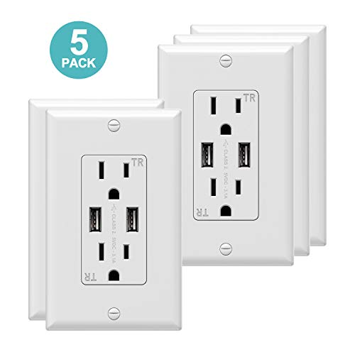 USB Wall Outlet 3.1A Dual High Speed USB Charger Electrical Outlet 15A/125V Receptacle 5Pack White Wall Plate, Screw Include ()