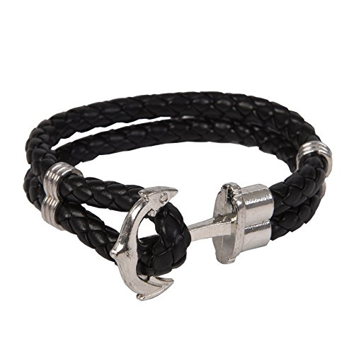 RIVERTREE Silver Classic Anchor Braided Leather Bracelet Black for Men