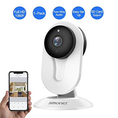 SMONET Home Security Camera, Security Camera Wireless with Two-Way Audio, Night Vision, Full HD 1080P 2.0 Mega-Pixel Indoor Surveillance Camera for Elder Baby Nanny Pet Monitor White