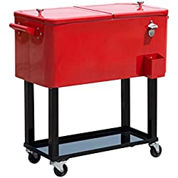 Outsunny 80 Quart Stainless Steel Rolling Cooler Cart with Bottle Opener, Catch Tray, and Drain Plug - Red