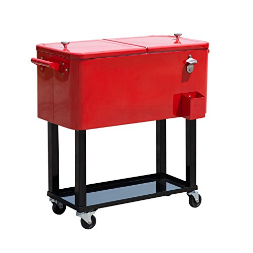 (Outsunny 80 QT Rolling Ice Chest Portable Patio Party Drink Cooler Cart - Red)