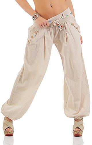 Pantalón bombacho Dama Bombachos Pantalón aladino Pantalones de verano Pantalones bombachos Bañador de playa YS 106 Beige
