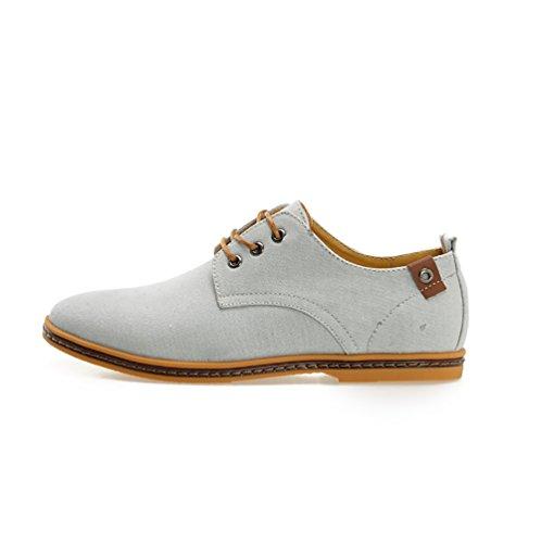 YiJee Herren Übergröße Freizeit Schnürhalbschuhe Low-Top Schuhe Hell Grau