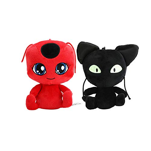Ladybug & Tikki Cat Noir Plush Doll Toys Ladybug Miraculous, Cat Noir Soft Stuffed Doll Toy Plush Keychain Doll 6 inch 2PCS/Set ()