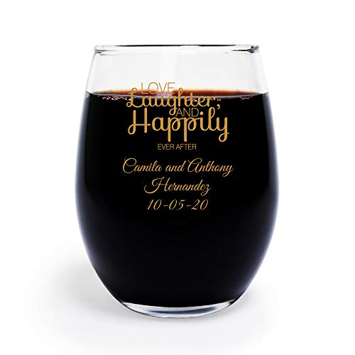 144 Pack Personalized Color Printed Love Laughter and Happily Ever After 9 oz stemless Wine Glass, Wedding Favor,Party Favor, Anniversary Favor, Personalized Wine Glass, Bridal Shower Favors Gold -