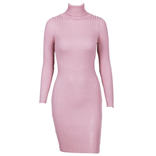 WanYang Frauen Damen Rollkragen Strick Bodycon Jumper Kleid Winter ...