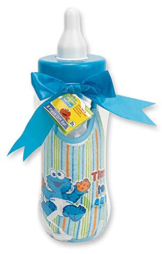 Sesame Street Terry Bib - Sesame Beginnings Bottle Bank Gift Set - 8 Piece Baby kit Includes 9 oz Baby Bottle, bib, Bottle Brush, Snack Container with lid, Brush and Comb All in Large Bottle Bank - Cookie Monster Blue